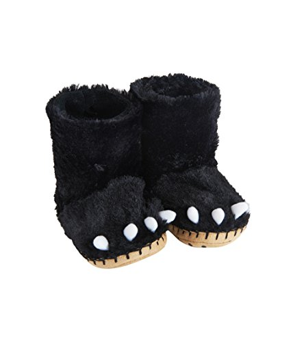 Hatley Unisex-Kinder Animal Slippers Hohe Hausschuhe Schwarz (Black Bear Paws 001), 32/33 EU