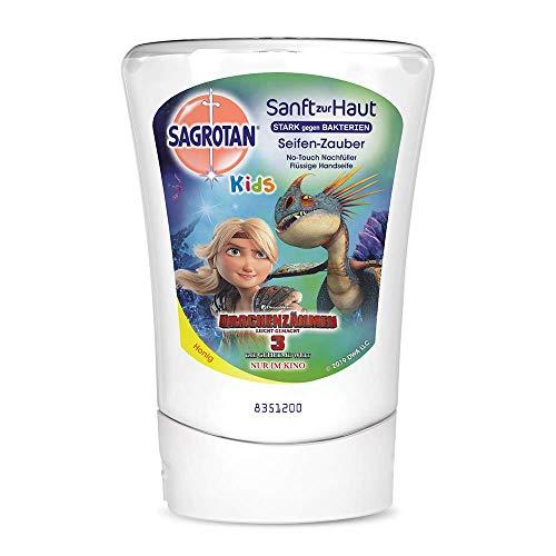 Sagrotan No-Touch Kids Nachfüller Seifenzauber Honig, Drachenzähmen leicht gemacht Edition - Für den automatischen Seifenspender - 1 x 250 ml Handseife für Kinder
