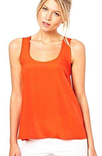 Minetom Donne Allentato Casuale Canotte Senza Maniche Estate Sexy Vest Posteriore Vuota ( Arancione IT 38 )