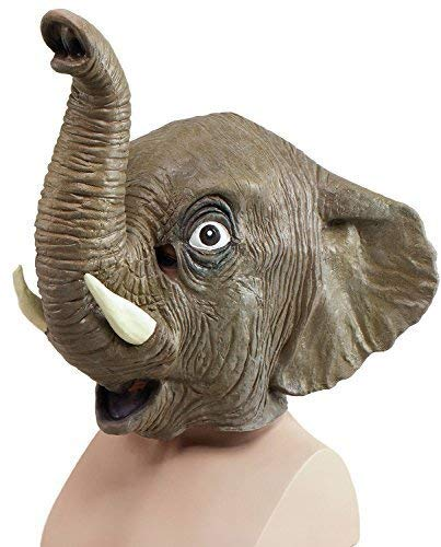 Fancy Me Erwachsene Damen Herren Rubber Das Gesicht Bedeckend Maske Animal Halloween Kostüm Kleid Outfit Zubehör - Elefant