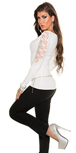 Fashion By Miss Fusion -  Maglione  - Donna Off-White