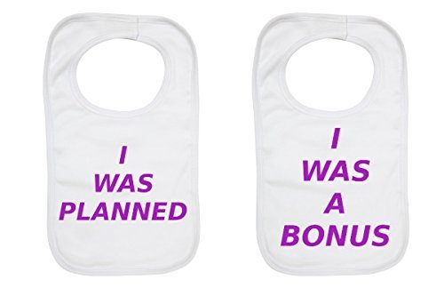 by 2Personal I Was Planned I Was A Bonus Purple Twin Baby Bibs Set