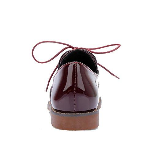 Absatz Schn眉ren Lackleder Niedriger Flache Damen Zehe Rund AgooLar Schuhe Rein Weinrot 74qEFxIIw