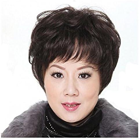 XQXHair Signore delle donne breve parrucca piena capo Silky parrucca sintetica Con resistente vestito operato (36 Parrucca Nera Lunga)