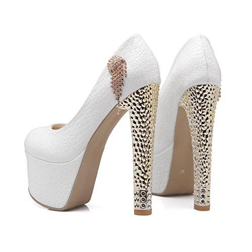 balamasa pour femme à enfiler spikes-stilettos Pois Brevet en cuir pumps-shoes Blanc