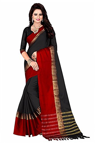 FabDiamond Cotton Saree With Blouse Piece (T-Pintu380-Black_Black_Free Size)