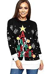 Idea Regalo - WearAll Donna Maglia Merry Christmas Manica Lunga Albero di Natale Donna Pompon Maglione 8-24 - Nero, 12-14