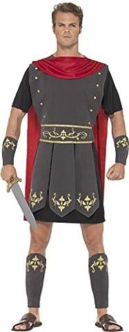 Smiffy's 45495L - Herren Römischer Gladiator Kostüm, Tunika, Umhang, Arm und Bein Stulpen, Größe: L, (Roman Kriegerin Kostüm)