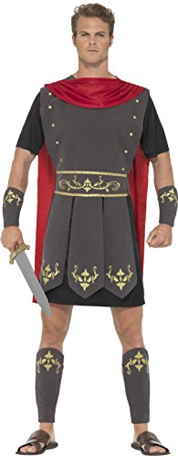 Smiffys 45495XL - Herren Römischer Gladiator Kostüm, Tunika, Umhang, Arm und Bein Stulpen, Größe: XL, schwarz