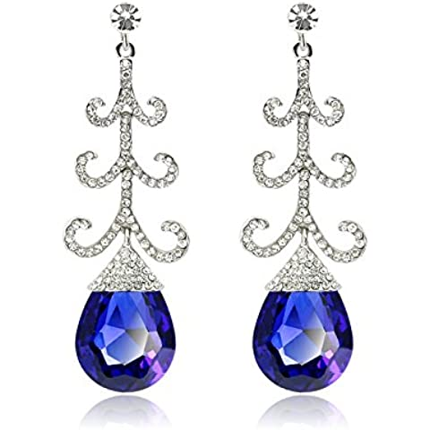 Skyllc® Creativo del Rhinestone de cristal azul de la piedra preciosa gota pendientes mujeres Jewerly