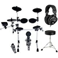 XDrum DD-402 E-Drum-Set (Komplettes E-Drum-Set, inkl. Hocker & Kopfhörer, Crashbecken abstoppbar, 4 Drum Pads, 108 Voices, 10 Preset Kits) weiß
