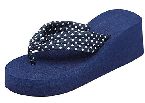 Minetom Donna Flip Flops Dot Stampa Piattaforma Sandali Slim Infradito e ciabatte da spiaggia Blu