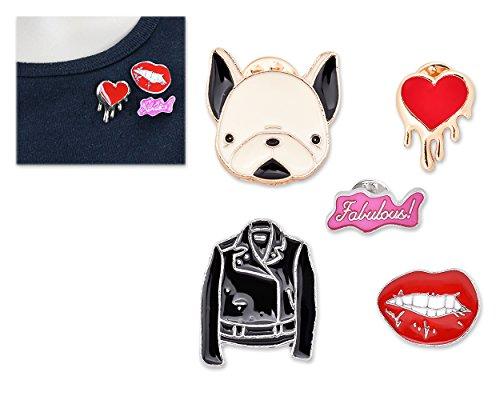 DSstyles 5 piezas de animales de dibujos animados broche de esmalte Cute Pins Badge Bag Decoración para las mujeres