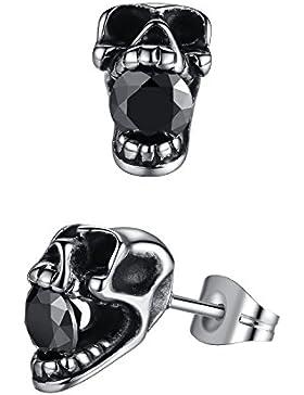 Aoiy Herren-Ohrstecker, Edelstahl, gotische Schädel, schwarzen Kristall, aae023he