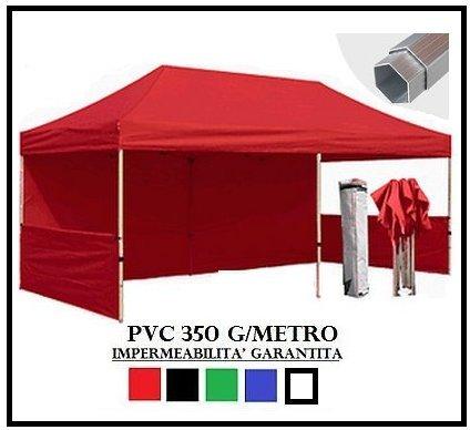 Gazebo pieghevole rosso alluminio esagonale 40mm 3x6 + 4 teli laterali pvc 350 g metro