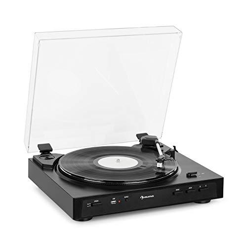 auna Fullmatic - vollautomatischer Plattenspieler, 33 oder 45 U/min, 30 oder 17 cm Plattengröße, USB-Port, AUX-Eingang, Vorverstärker, MM-Tonabnehmersystem, luxuriöses Design, schwarz
