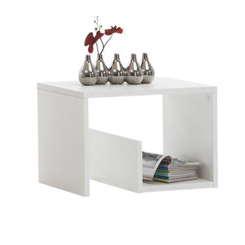 Weiß Holz Breite Beistelltisch (FMD Mike Beistelltisch Mike B/H/T 59.0 x 38.0 x 36.0 cm, weiß)