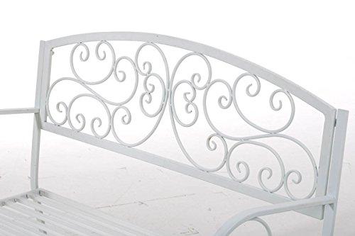 Gartenbank Adelaide, Metallbank 108cm ~ weiß - 4