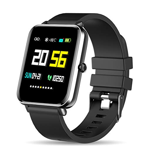 Zagzog Smartwatch, IP68 Wasserdicht Fitness Armband 1,54 Zoll Voller Touch Screen Fitness Uhr GPS Fitness Tracker mit Pulsuhren Schrittzähler Stoppuhr für Herren Damen Smart Watch für iOS Android