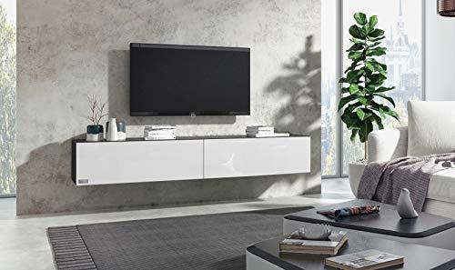 Wuun® 280cm/Weiß-Hochglanz (Korpus Schwarz-Matt)/8 Größen/5 Farben/TV Lowboard TV Board hängend Hängeschrank Wohnwand/Somero