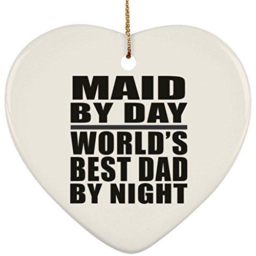 mit World 's Best Dad, Keramik, Herzform, Weihnachtsbaum-Dekoration, Geschenk für Vater Papa, für Kinder, Tochter, Sohn, Ehefrau (Womens Weihnachtsbaum Kostüme)