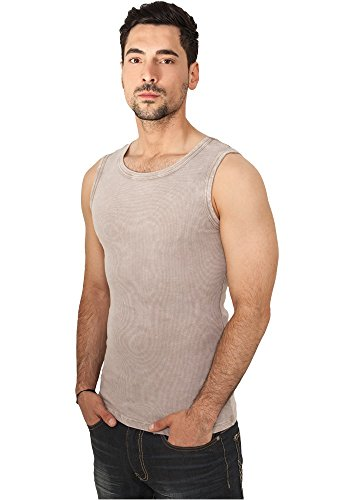 Urban Classics Herren Regular Fit Sport Tank Top Faded Tanktop TB471, Einfarbig, Gr. Medium, Braun (Stone 00372) (Rib Tank Basic Shirt Top)