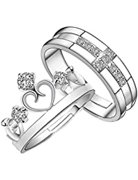 Popmode Silver Alloy Sparkling Crystal Heart Crown Couple Ring for Women