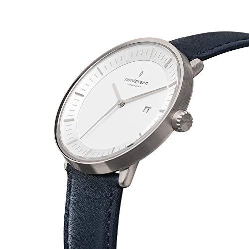 Nordgreen Philosopher Designer Unisex Uhr Silber Analog Quarzwerk 40mm (L) mit Lederarmband...