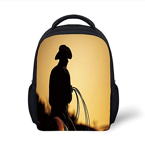 Western Silhouette (Kids School Backpack Western,Cowboy with Lasso Silhouette at Small Town Rodeo Theme American USA Culture Decorative,Brown Light Brown Plain Bookbag Travel Daypack)