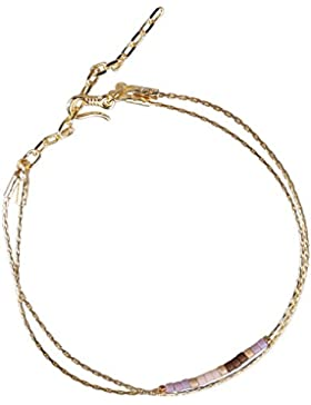 KELITCH 2 Kreis Handmade Zierlich Filigranes Armband mit Mehrfarbig Matt Rocailles Perlen Armbänder