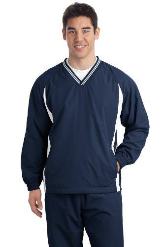 Sport-tek Herren Raglan (Sport-Tek® Tall Tipped V-Neck Raglan Wind Shirt. TJST62 True Navy/ White LT)