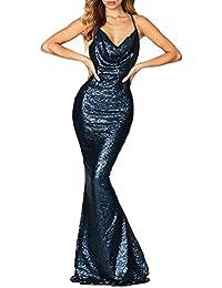 95229f3949d7 Donna Maxi Vestito a Tubino Moda Paillettes Pin Up Abito da Cerimonia Senza  Schienale Vestiti da