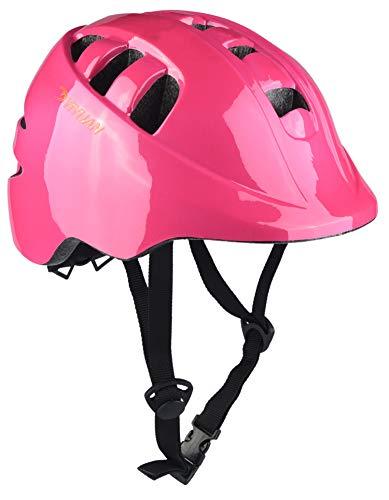 Kinder Fahrradhelm Erwachsener Fahrrad Helm Sturzhelm Reithelm Road Mountainbike Helm mit LED Lampe Rosa Blau und Weiss S (52-56cm) Y-18 (Rosa)