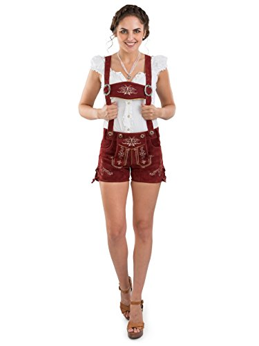 Damen Bergrose Lederhose kurz - Trachtenlederhose Ladies Oktoberfest Hotpants rot (38, red)