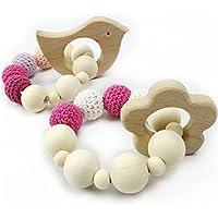 Bambino Massaggiagengive bambino Naturale Bracciale in legno anello di dentizione di cura Beads Crochet giocattoli sonaglio Teether del giocattolo - Regalo Materiale