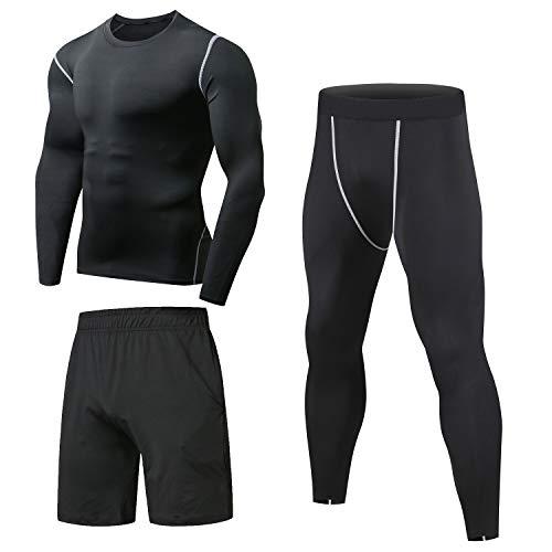 Niksa 3 pezzi fitness palestra completi sportivi da uomo abbigliamento sportivo,compressivo maglie e t-shirt pantaloni collant a compressione vestiti (l, long sleeve(163515 new))