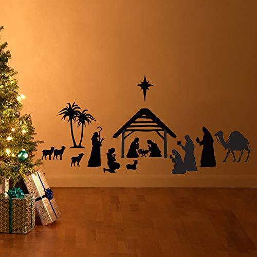 wlwhaoo Geburt Silhouette Szene Wandtattoo Weihnachten Vinyl Kunst Aufkleber Home Interior Decor Wandtattoo für Wohnzimmer Schlafzimmer rot 120x57 cm -