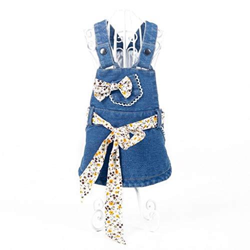 Hunter Kostüm Hunde - GWM Haustierkleidung, Hundekleidung, Outwear Kostüm für Hunde, Frühling und Sommer Denim Rock Pet Kleidung Big Bowknot Kleiner Hund Polyester blau (größe : L)