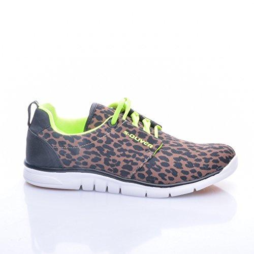 S.Oliver Damen Sneaker Black Leopard, Schuhgröße:38