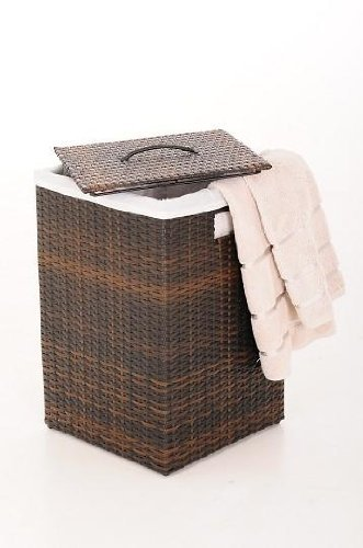 "VIVANNO Wäschekorb Korb Wäschebox ""Mia"" Polyrattan Braun – 70 cm x 46 cm x 46 cm - 2"