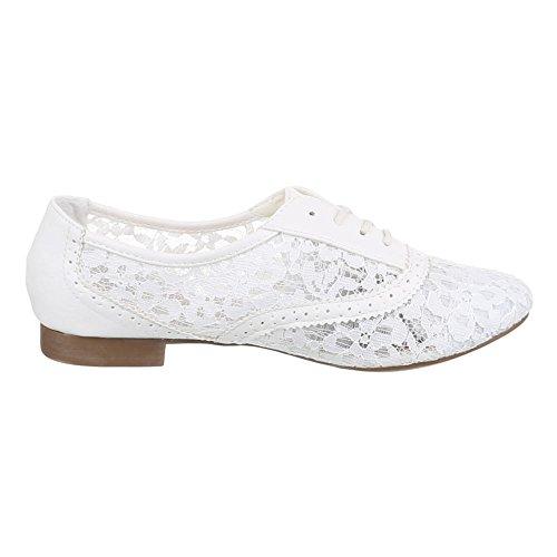 Ital-Design Damen Schuhe, A-102, Halbschuhe Spitzen Schnürer Weiß