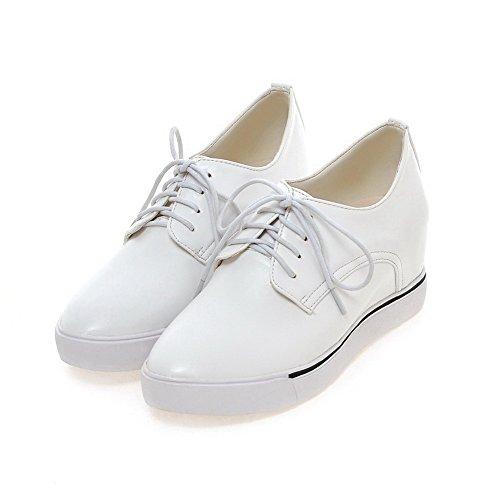 VogueZone009 Damen Rund Zehe Mittler Absatz Weiches Material Rein Schnüren Pumps Schuhe Weiß