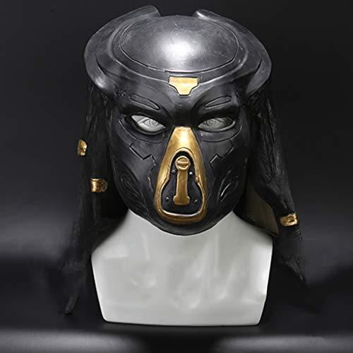 QWEASZER Alien Mask Predator Vollgesichtsmaske Latex Helm, Film Cosplay Kostüm Zubehör, Halloween Maske Helm für Erwachsene Männer Kostüm,Black-56~62cm
