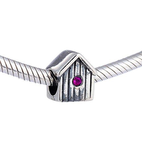 .925 Sterling Silber rote Farbe CZ Stein Haus Charm für Pandora Armband