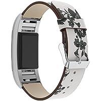 HKFV Correas de Repuesto para Reloj Fitbit Charge 2, Diseño Floral, Color A, 5.3''-7.6''