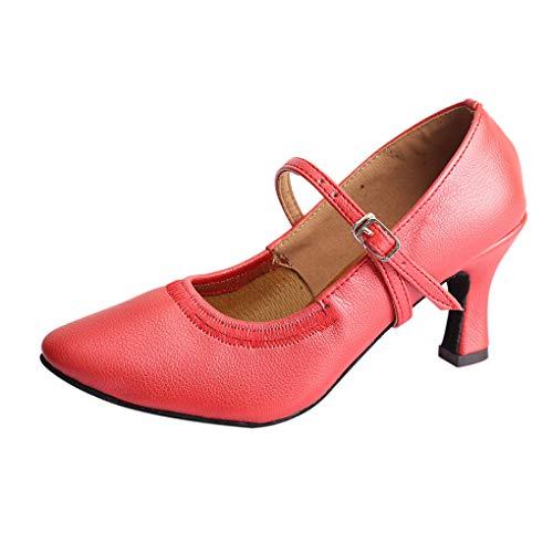 Dorical Damen Tanzschuhe/Mode Latein Hoher Absatz Tanzschuhe mit Schnalle/Solid Walzer Tanzschuhe für Halloween Performance-Schuhe Valentinstag Schuhe (Rot,37 EU)