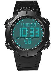 Reloje Hombres,Xinan Hombres LCD Digital Sportwatch Reloj Pulsera para Niño (Negro)