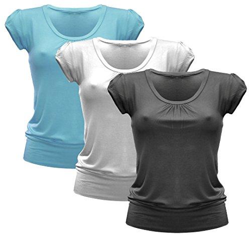 3x Damen Tshirt - T-Shirt - 3er Pack T Shirt - Runder Halsausschnitt - 3er Pack - 1092ML - Schwarz + Weiß + Sky Blue