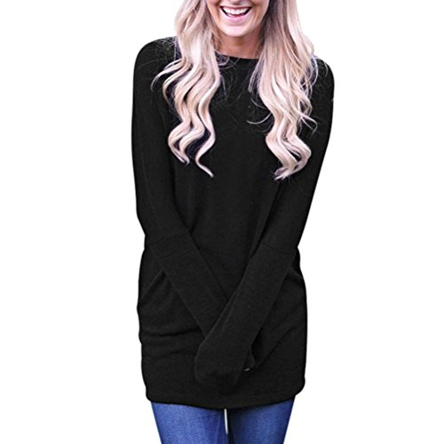 Longra Damen Mode Damen Basic Langarmshirt O-Neck Lose Casual Tunika Langarm Solid Bodycon Tops Shirt Bluse Für Herbst & Frühling (XL, Black) (Shirt Tunika Belted)