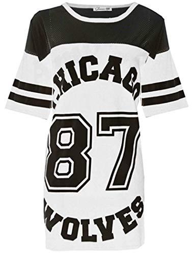 Verrückte Mädchen-Frauen Amerikanischer Baseball Chicago 87 Wölfe sackiges T-Shirt Spitze 36-42 (S/M-EU36/38, Weiß)